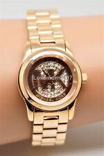 ❤️ NEW Michael Kors MK3613 Mini Runway Rose Gold Watch Crystal Glitz ❤️ + BOX