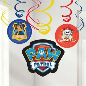 6 Paw Patrol Happy Birthday Hanging Swirls Banner Party Decoration Partyware