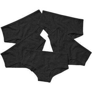 5 Pairs Girls Plain Black Knickers Shorts Hipster School Underwear Age 4 - 16