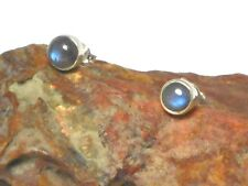 LABRADORITE   Sterling  Silver  925  Gemstone  Earrings / STUDS  -  6  mm