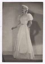 PHOTO ANCIENNE MANNEQUIN FEMME MODE FASHION Vers 1940 Robe blanche Studio