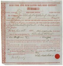 New York & New Haven Railroad Company Stock Signed by Robert Schuyler