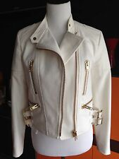 Designer- Chloe motorcycle jacket in creme color with gold buckles, size US 4