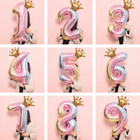 32 inch Crown Number Foil Balloon Digit Ballon Happy Birthday Party Home Decor