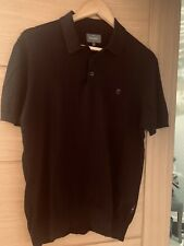 Mens Peter Werth Polo Shirt - Black Short Sleeve Size M