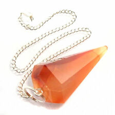 Carnelian Crystal GEMSTONE Point Dowsing Pendulum Orange Agate Chakra Healing