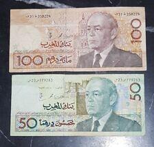 2 Billets de Banque Maroc 50 et 100 Dirhams Hassan II (1987)