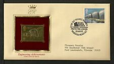 Great Britain Golden 22kt Gold Replicas - 1983 FDC 20p Thames Flood Barrier