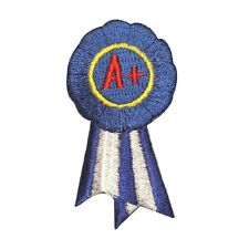 ID 1003 Award Letter A+ Blue Ribbon School A Plus Kids Iron On Applique Patch