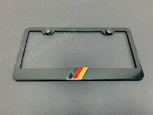 1x GERMAN FLAG 3D Emblem BLACK Stainless License Plate Frame RUST FREE Germany