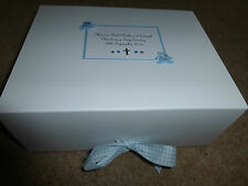 Large Personalised Baby Boy/Girl Memory Keepsake Box Gift Christening Blue Pink
