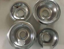 "4 new stove pan bowls 6 1/4"", 7 5/8"", chrome"