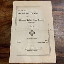 1939 Alabama Polytechnic Institute 67th Commencement Graduation Program Auburn