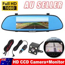 """7"""" Dual Lens Car DVR 1080P Dash Cam Reversing Rear Camera Mirror Recorder AU"""