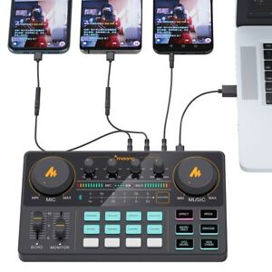 AM200 Microphone Mixer Digital Audio Interface Podcast Sound Card Rechargeable