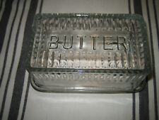 "Pottery Barn Clear Pressed Glass ""Butter"" Dish."