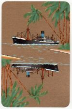 Playing Cards 1 Single Swap Card - Old Vintage BLUE FUNNEL LINE Shipping Ship 8