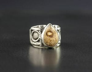 Item 1422 In Your Size with Free USA Shipping Natural Brecciated Jasper Gemstone and Sterling Silver Ring
