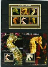 MOZAMBIQUE 2002 MARINE LIFE/SEA HORSES SHEET OF 6 STAMPS & 2 S/S MNH