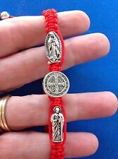 Saint Bracelet GUADALUPE ST BENEDICT JUDE PROTECTION Medal Mens Women RED