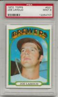 1972 TOPPS #321 JOE LAHOUD, PSA 9 MINT, MILWAUKEE BREWERS,  L@@K !