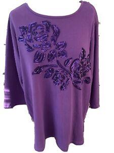 Quacker Factory Purple Sequin 3/4 Sleeve Cotton Sweatshirt Tunic Top Size XL