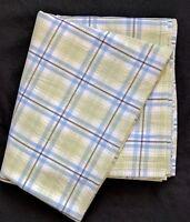 POTTERY BARN KIDS Full Plaid Checks Flat Sheet Blue Green 100% Cotton EUC