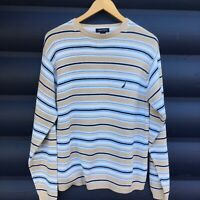 NAUTICA Men's Medium CREWNECK 100% COTTON  BLUE Beige White Striped Sweater