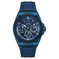 NIB Authentic GUESS Men's Blue Tone Silicon Strap Chronograph Watch U1049G7