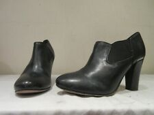 MODA IN PELLE BLACK LEATHER HEELED PULL ON ANKLE BOOTS BOOTIES UK 4 EU 37 (3399)