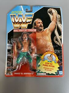 WWF 1991 Hasbro Jake the Snake El Serpiente Sealed Spanish Card