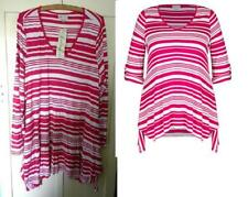 BNWT sz 20 Autograph  Berry & Wht Striped Tunic Top W Tab Sleeves