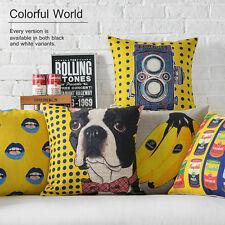 "Yellow Pop Art Dog Animal Lips Banana Camera Linen Pillow Case Cushion Cover 18"""
