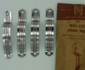 5 LOT 1950's Retro National Lock N61-167 CHROME Cabinet Door Pull RED STRIPE NOS