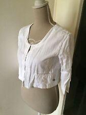 GOUBY veste courte blanche coton et lin   taille S/36  femme
