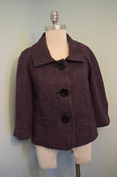 NEW Halogen Purple Black Tweed Metallic swing coat blazer jacket S career wool