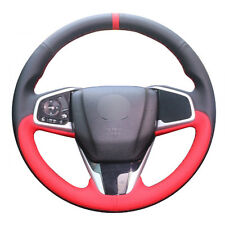 Top Leather Steering Wheel Hand-stitch on Wrap Cover For Honda Civic 10th CRV 17