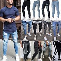 Mens Ripped Biker Skinny Jeans Frayed Pencil Trousers Pocket Casual Denim Pants