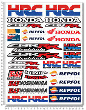 Honda CBR motorbike racing decal set 9.4x12.6 sheet 30 sticker 1000rr HRC Repsol
