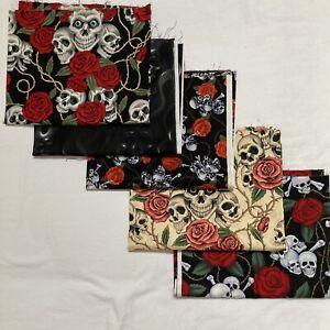 2 1/2 Yd Lot Alexander Henry The Rose Tattoo Skulls & Roses Black Cotton Fabric