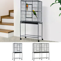 Large Bird Cage House Black Steel w/ Rolling Stand and Food Container