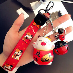 Red Maneki Neko Keychain Fortunate Key Ring Lucky Beckoning Cat Bell Keyring