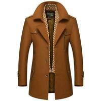 Mens Woolen Jacket Cotton Warm Coat Long  Business Winter Coat Formal Dress Coat