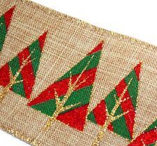 "2-Yds,2.5"" Geometric Red &Green Christmas Trees Gold Trim,Tan Wire Edge Ribbon"
