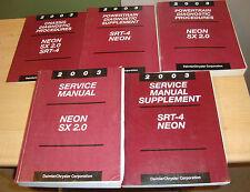 2003 Dodge Neon SX 2.0 SRT-4 Shop Service Manual + Supplement + Diagnostic 5 Bks