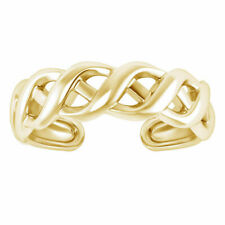 Yellow Gold Fn Womens Foot Jewelry Adjustable Weave Design Toe Ring Solid 14K
