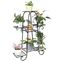 7  Pot Metal Plant Stand Garden Flower Shelves Outdoor Indoor Wrought Iron New