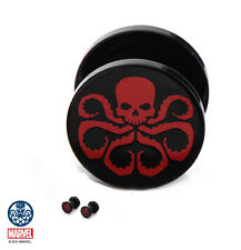 Earrings 2G Screw On Body Jewelry Marvel Comics Hydra Logo Black Acrylic Plug