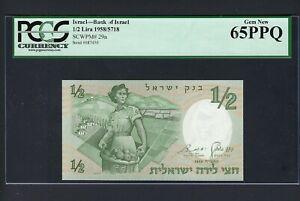 Israel 1/2 Lira 1958/5718 P29a Uncirculated Graded 65