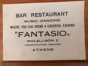 Vintage Greek Ephemera Bar Restaurant Fantasio 1950s Athens